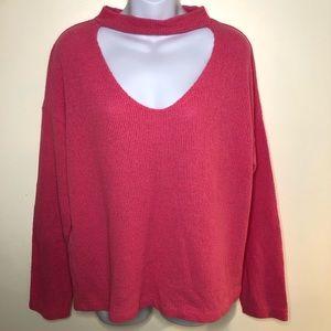 Zara Trafaluc bubblegum pink knit oversized open chest choker sweater size L